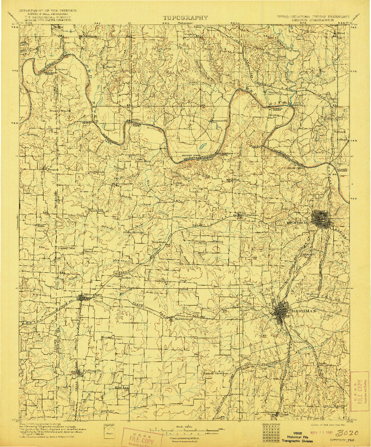 USGS 1:125000-SCALE QUADRANGLE FOR DENISON, TX 1901