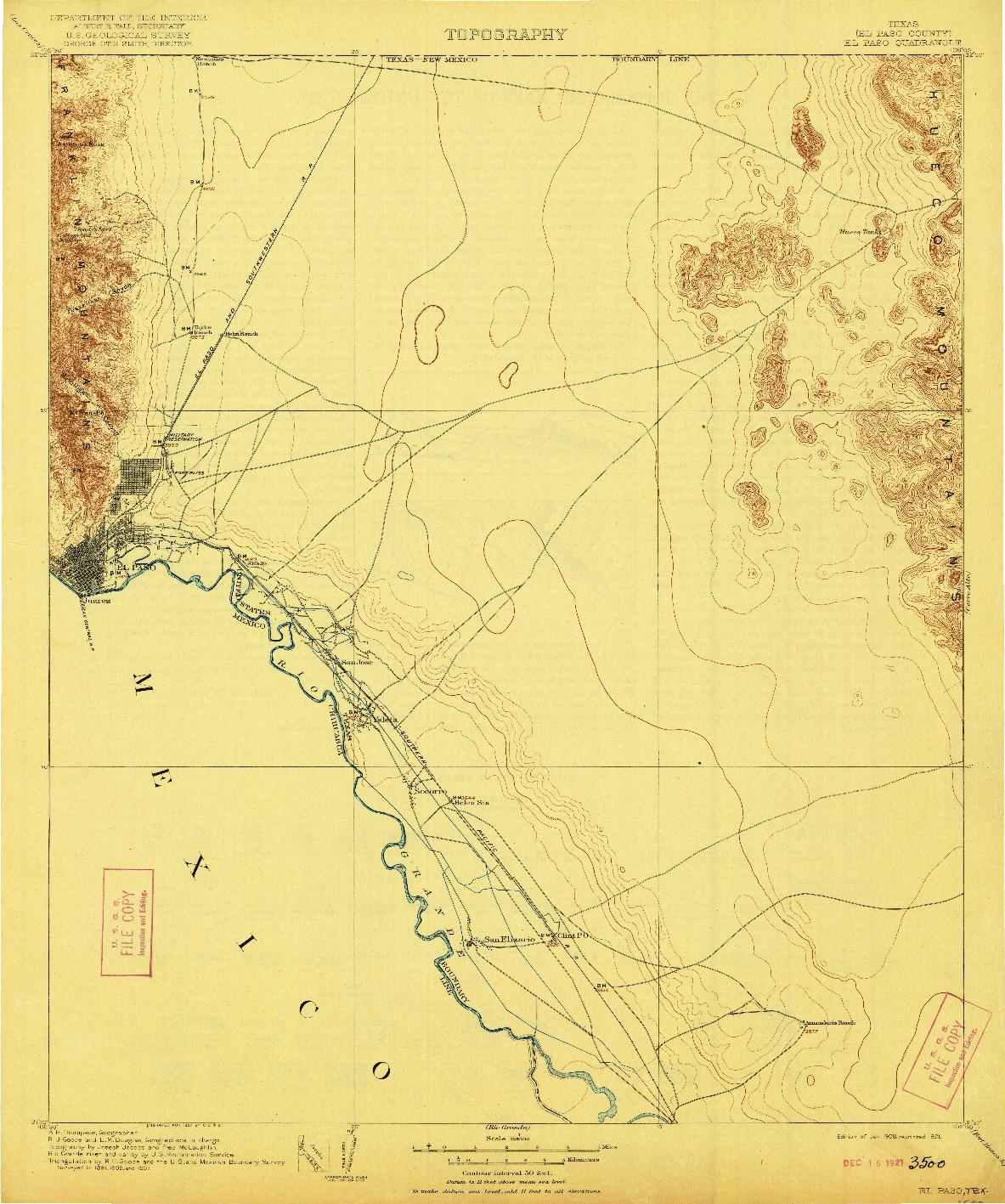 USGS 1:125000-SCALE QUADRANGLE FOR EL PASO, TX 1908