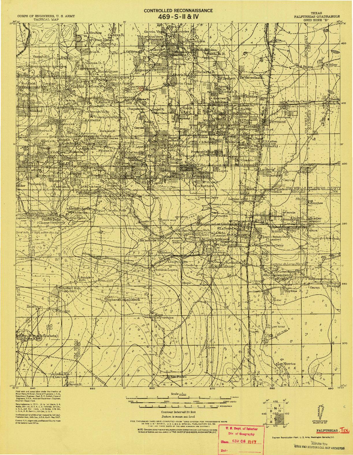 USGS 1:125000-SCALE QUADRANGLE FOR FALFURRIAS, TX 1921