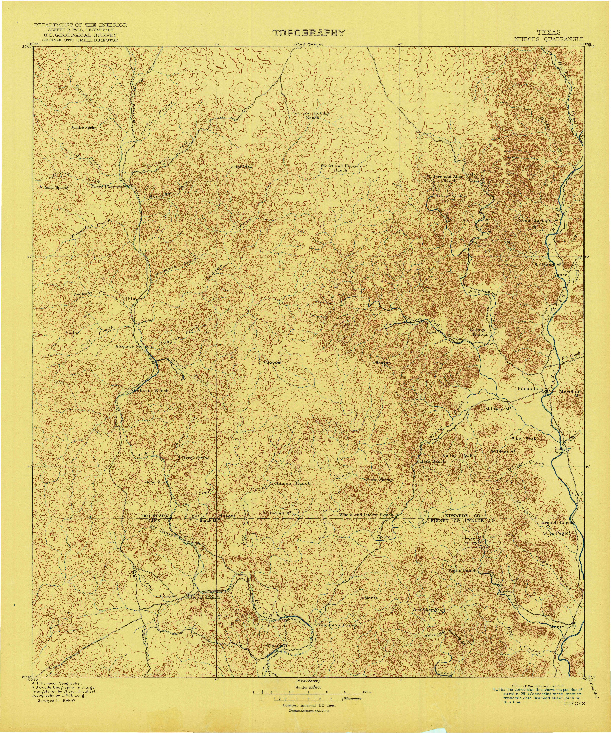 USGS 1:125000-SCALE QUADRANGLE FOR NUECES, TX 1896
