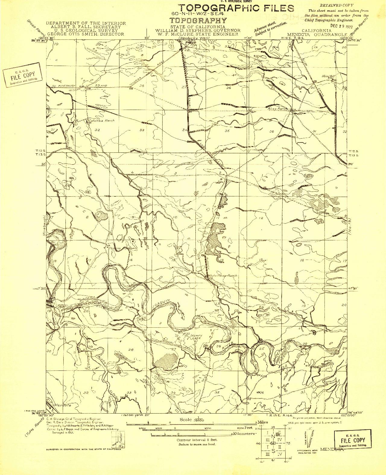 USGS 1:31680-SCALE QUADRANGLE FOR MENDOTA, CA 1921