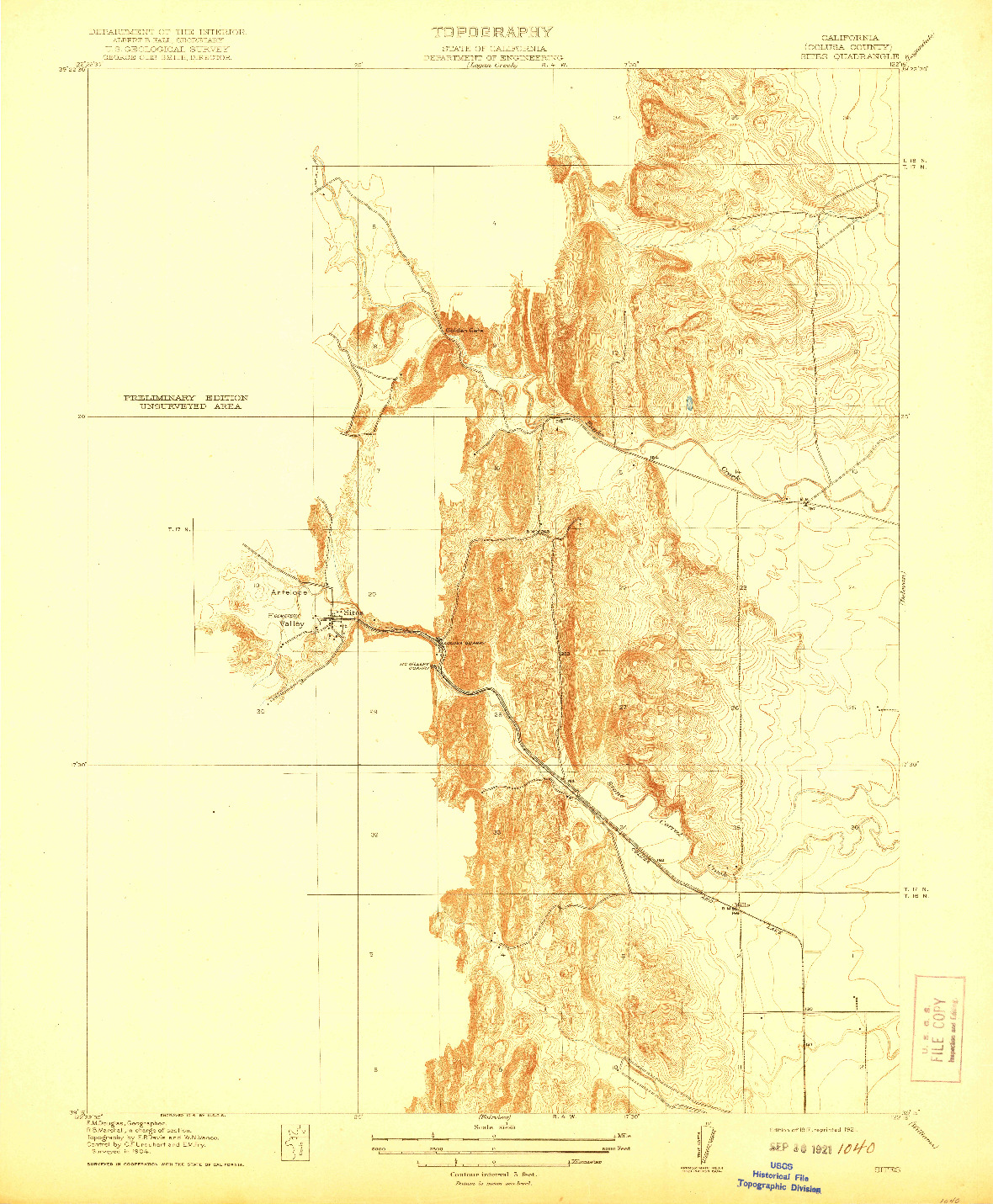 USGS 1:31680-SCALE QUADRANGLE FOR SITES, CA 1917