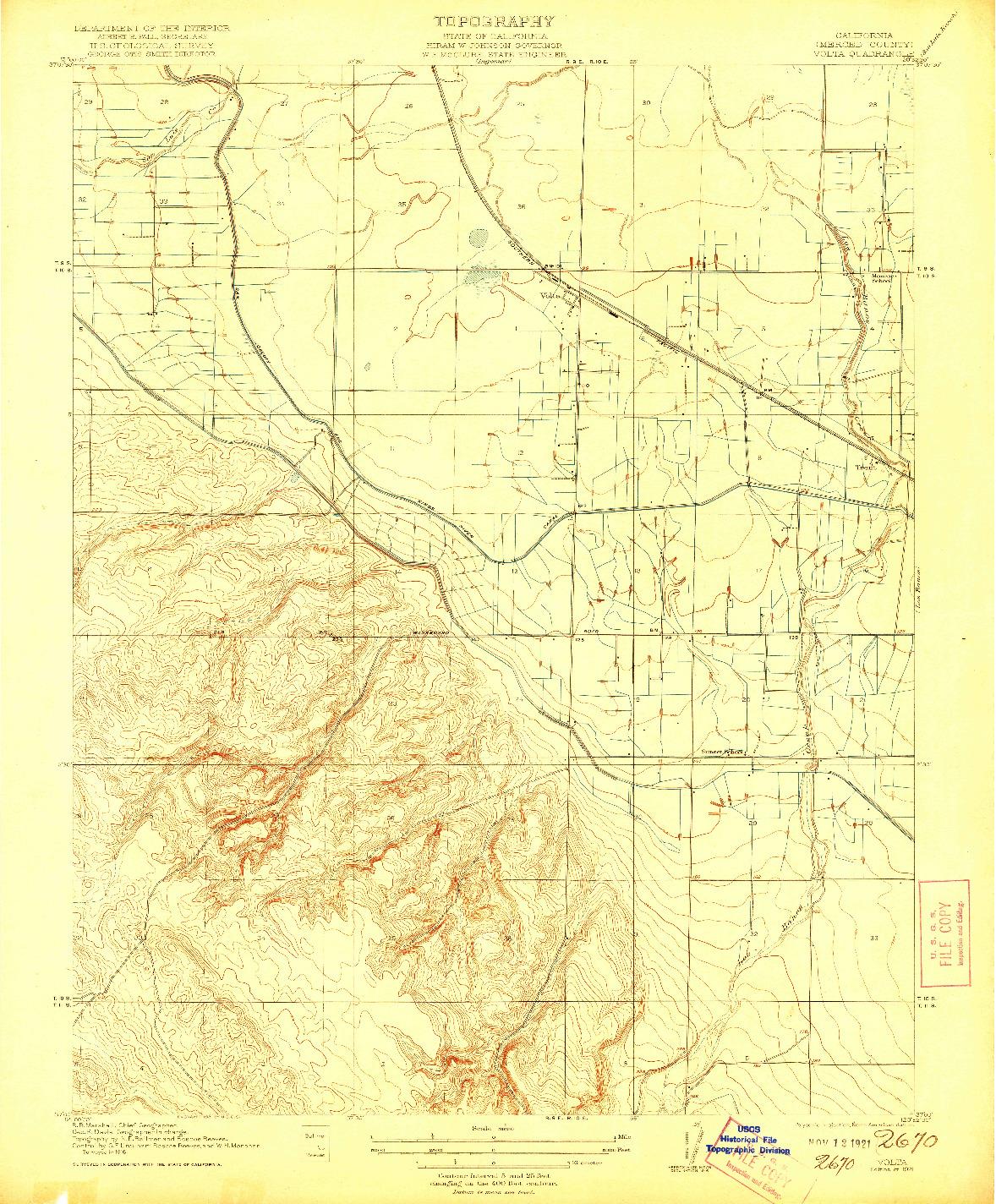 USGS 1:31680-SCALE QUADRANGLE FOR VOLTA, CA 1921