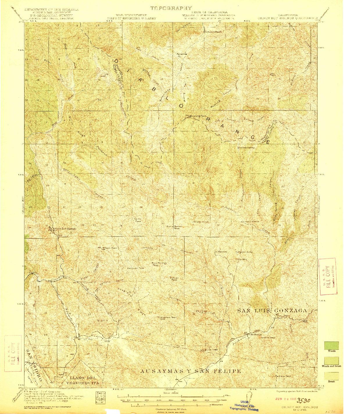 USGS 1:62500-SCALE QUADRANGLE FOR GILROY HOT SPRINGS, CA 1921