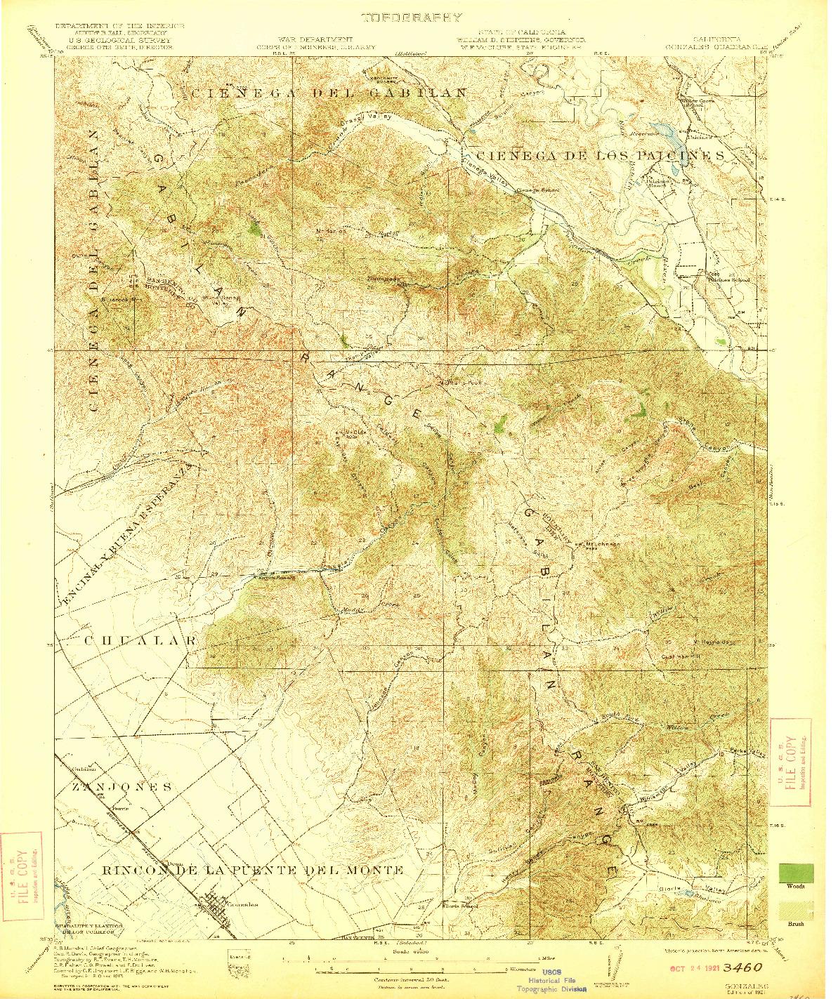USGS 1:62500-SCALE QUADRANGLE FOR GONZALES, CA 1921