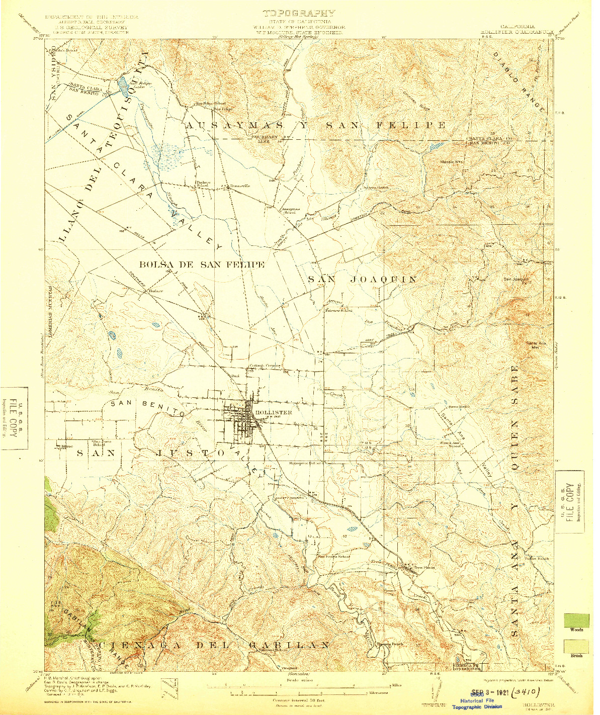 USGS 1:62500-SCALE QUADRANGLE FOR HOLLISTER, CA 1921