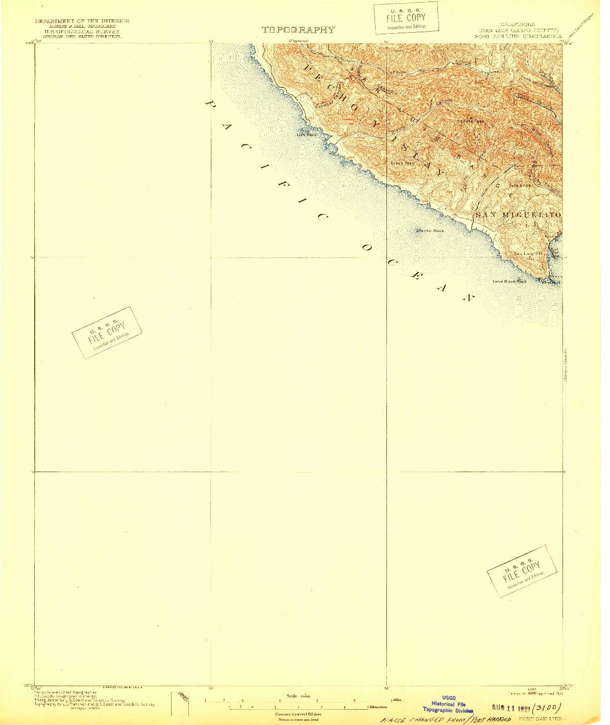 USGS 1:62500-SCALE QUADRANGLE FOR PORT SAN LUIS, CA 1897