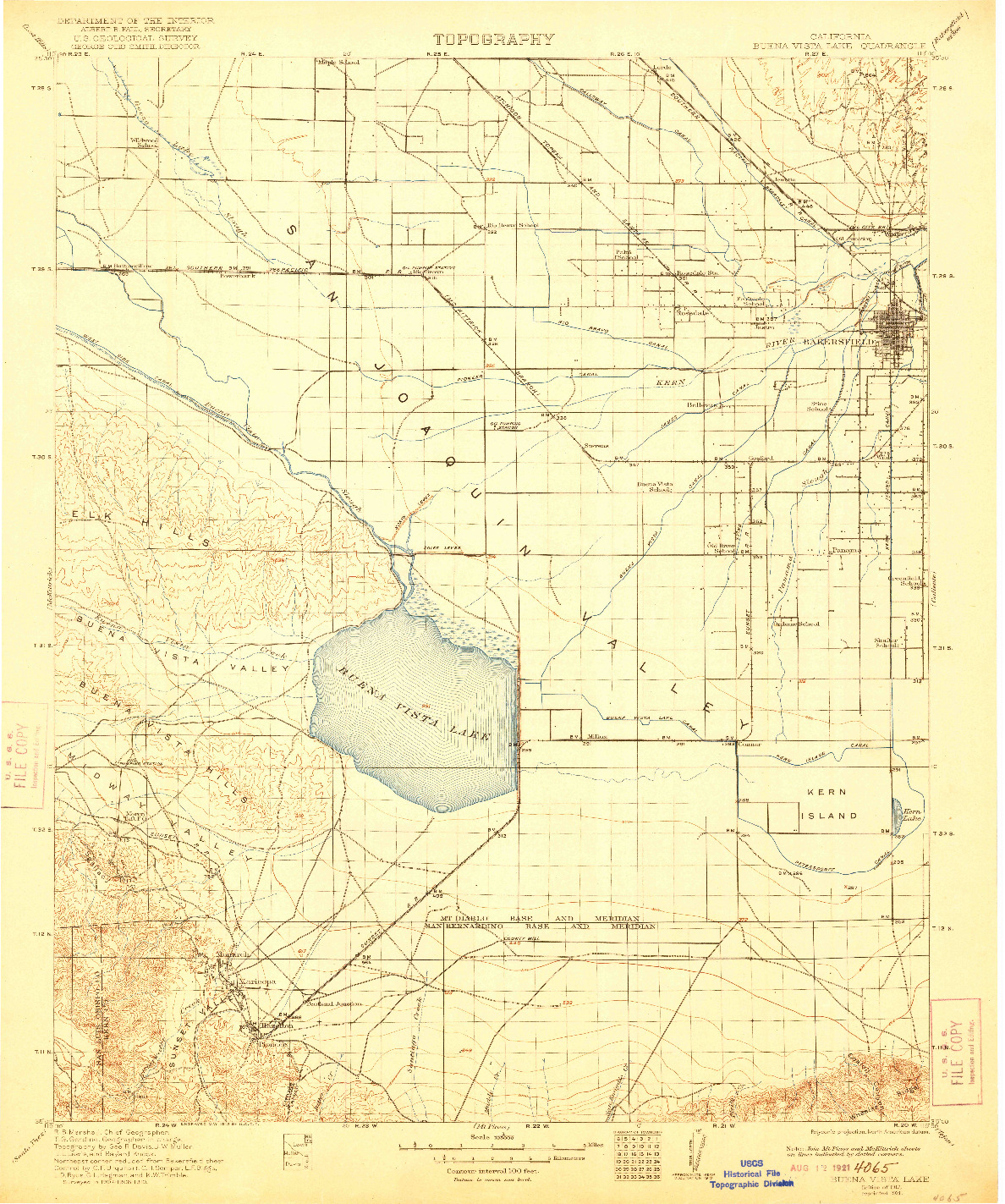 USGS 1:125000-SCALE QUADRANGLE FOR BUENA VISTA LAKE, CA 1912
