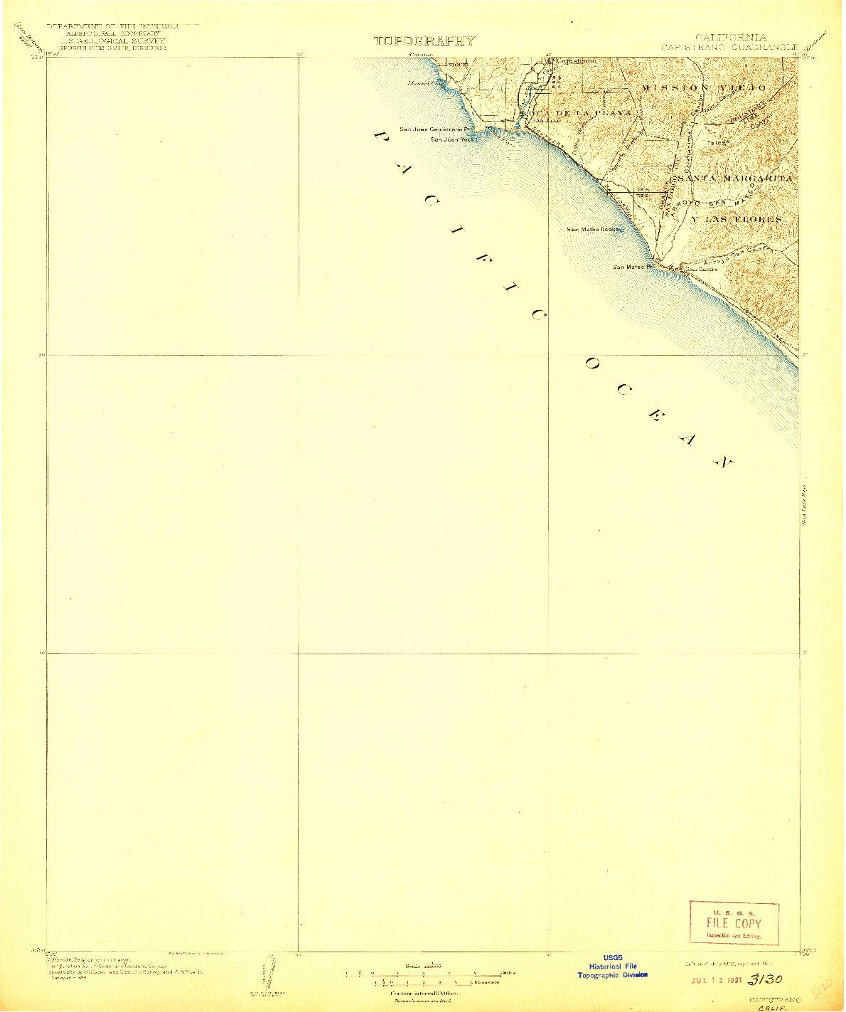 USGS 1:125000-SCALE QUADRANGLE FOR CAPISTRANO, CA 1906