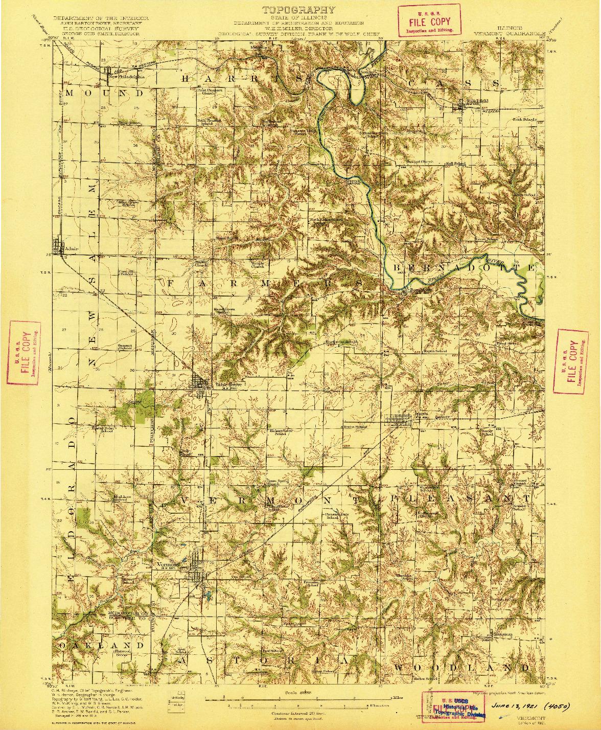 USGS 1:62500-SCALE QUADRANGLE FOR VERMONT, IL 1921
