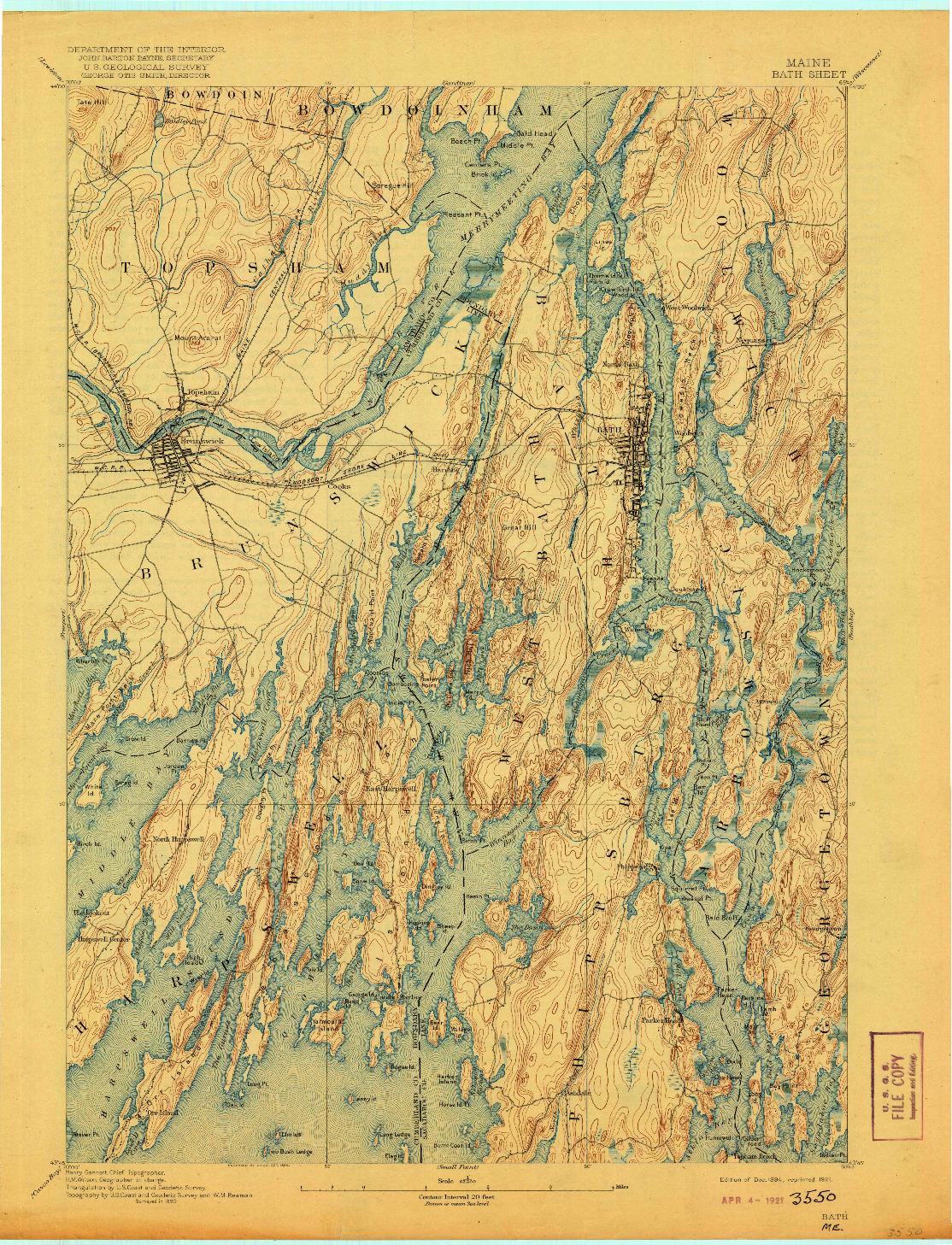 USGS 1:62500-SCALE QUADRANGLE FOR BATH, ME 1894