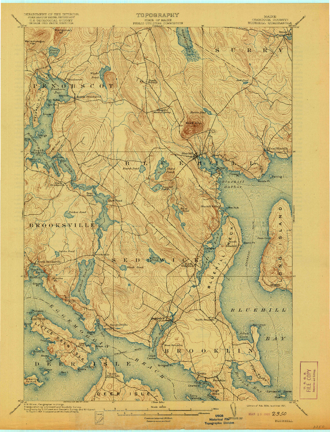 USGS 1:62500-SCALE QUADRANGLE FOR BLUEHILL, ME 1904