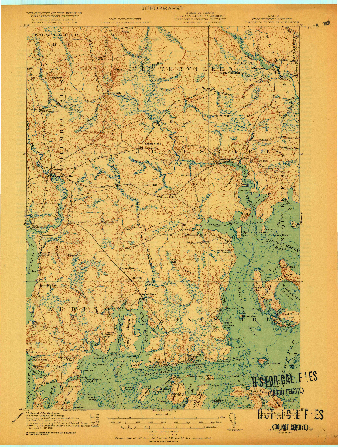 USGS 1:62500-SCALE QUADRANGLE FOR COLUMBIA FALLS, ME 1921