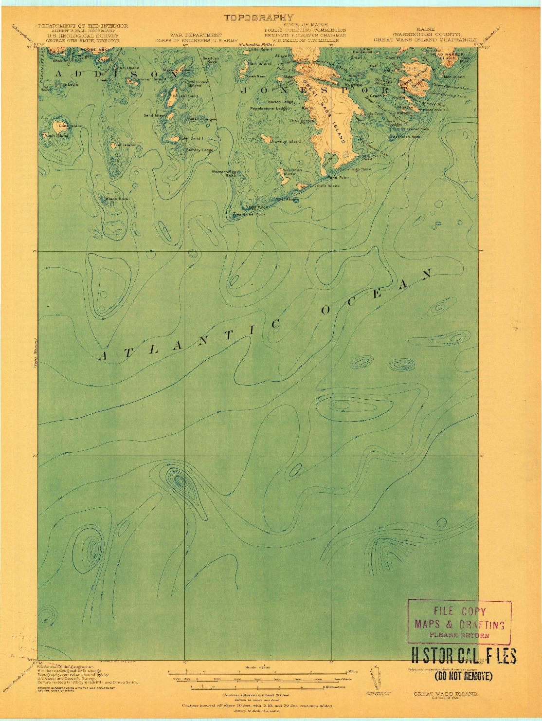 USGS 1:62500-SCALE QUADRANGLE FOR GREAT WASS ISLAND, ME 1921