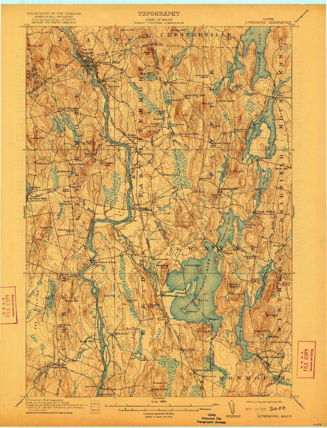 USGS 1:62500-SCALE QUADRANGLE FOR LIVERMORE, ME 1912