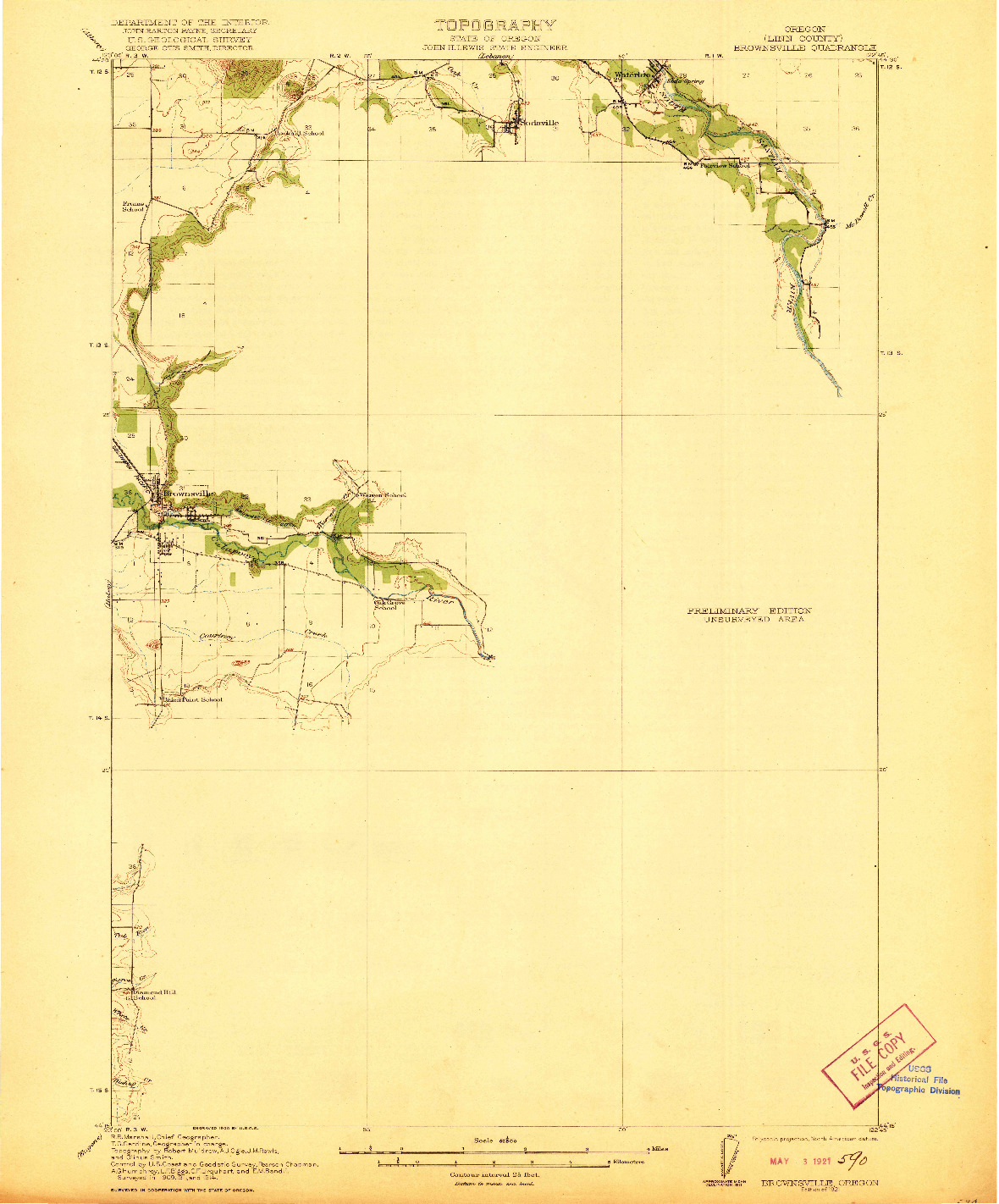 USGS 1:62500-SCALE QUADRANGLE FOR BROWNSVILLE, OR 1921