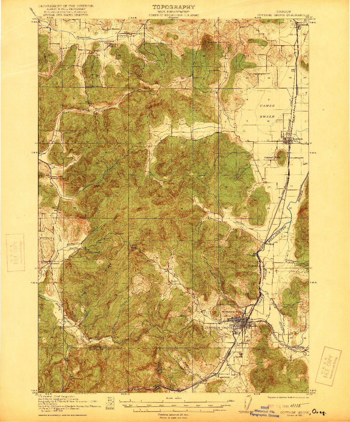 USGS 1:62500-SCALE QUADRANGLE FOR COTTAGE GROVE, OR 1921