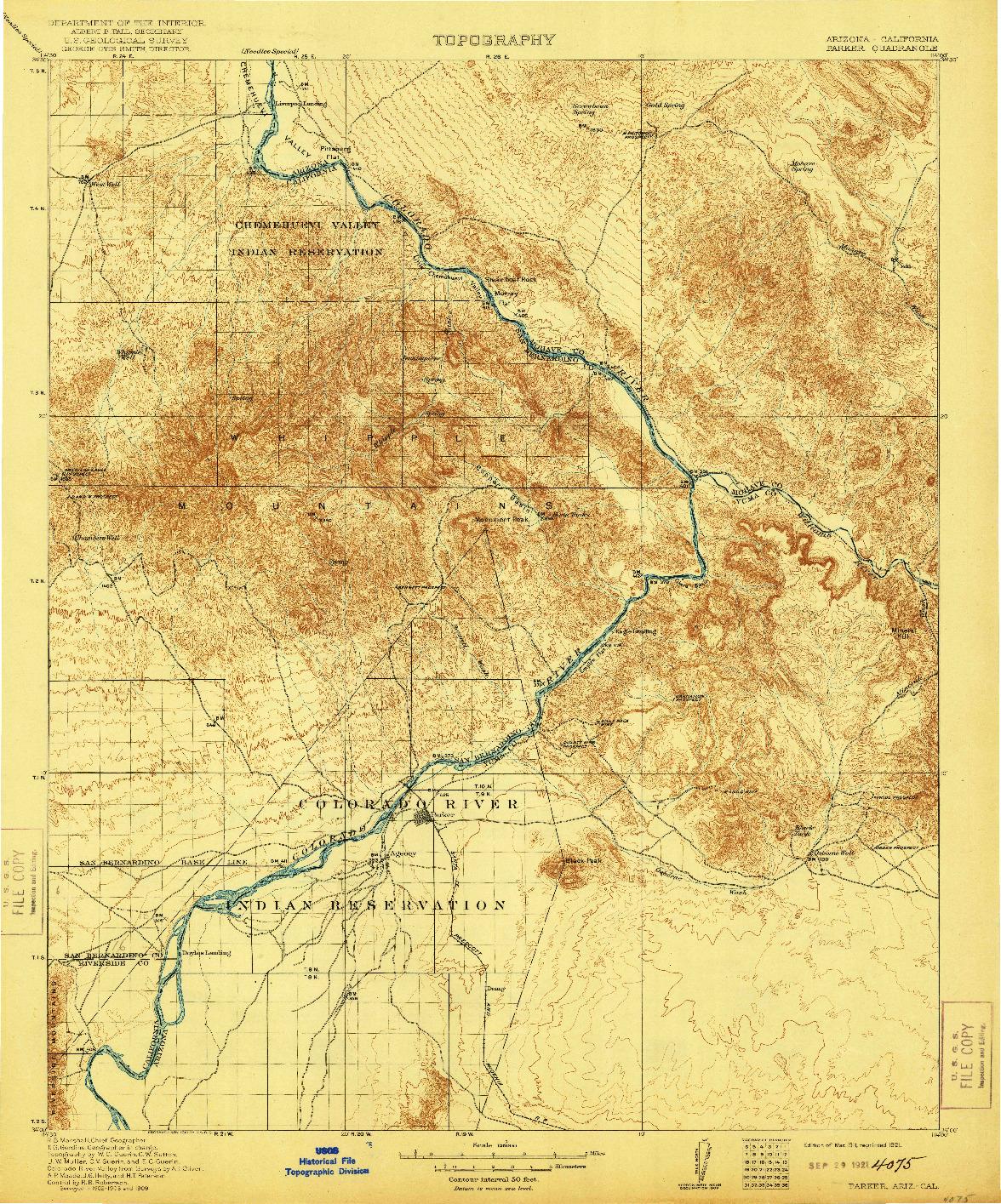 USGS 1:125000-SCALE QUADRANGLE FOR PARKER, AZ 1911