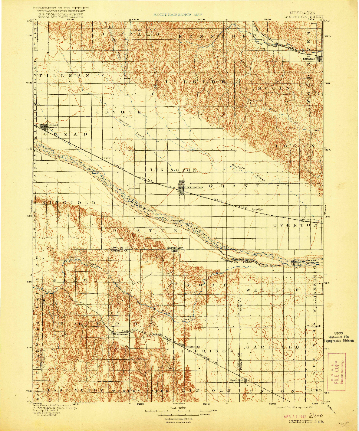 USGS 1:125000-SCALE QUADRANGLE FOR LEXINGTON, NE 1899