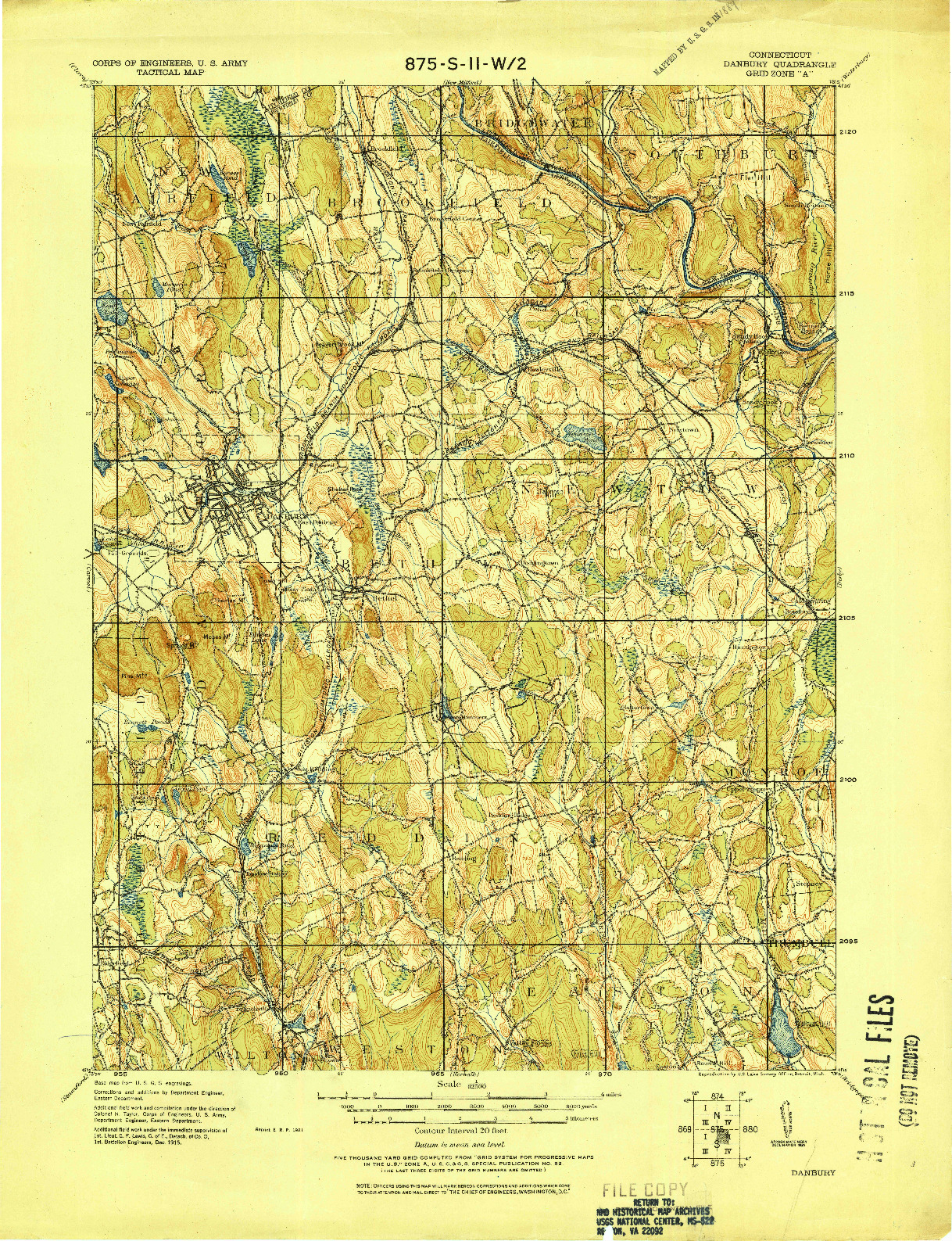 USGS 1:62500-SCALE QUADRANGLE FOR DANBURY, CT 1915