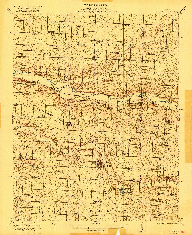 USGS 1:62500-SCALE QUADRANGLE FOR SARCOXIE, MO 1921