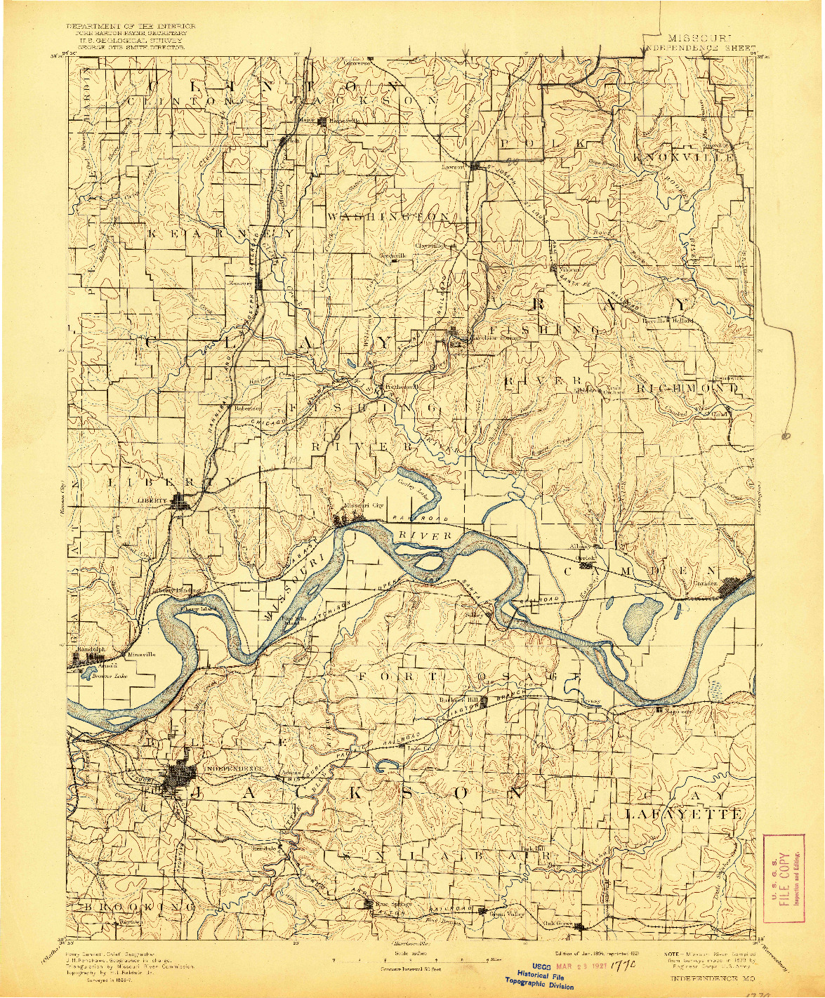 USGS 1:125000-SCALE QUADRANGLE FOR INDEPENDENCE, MO 1894