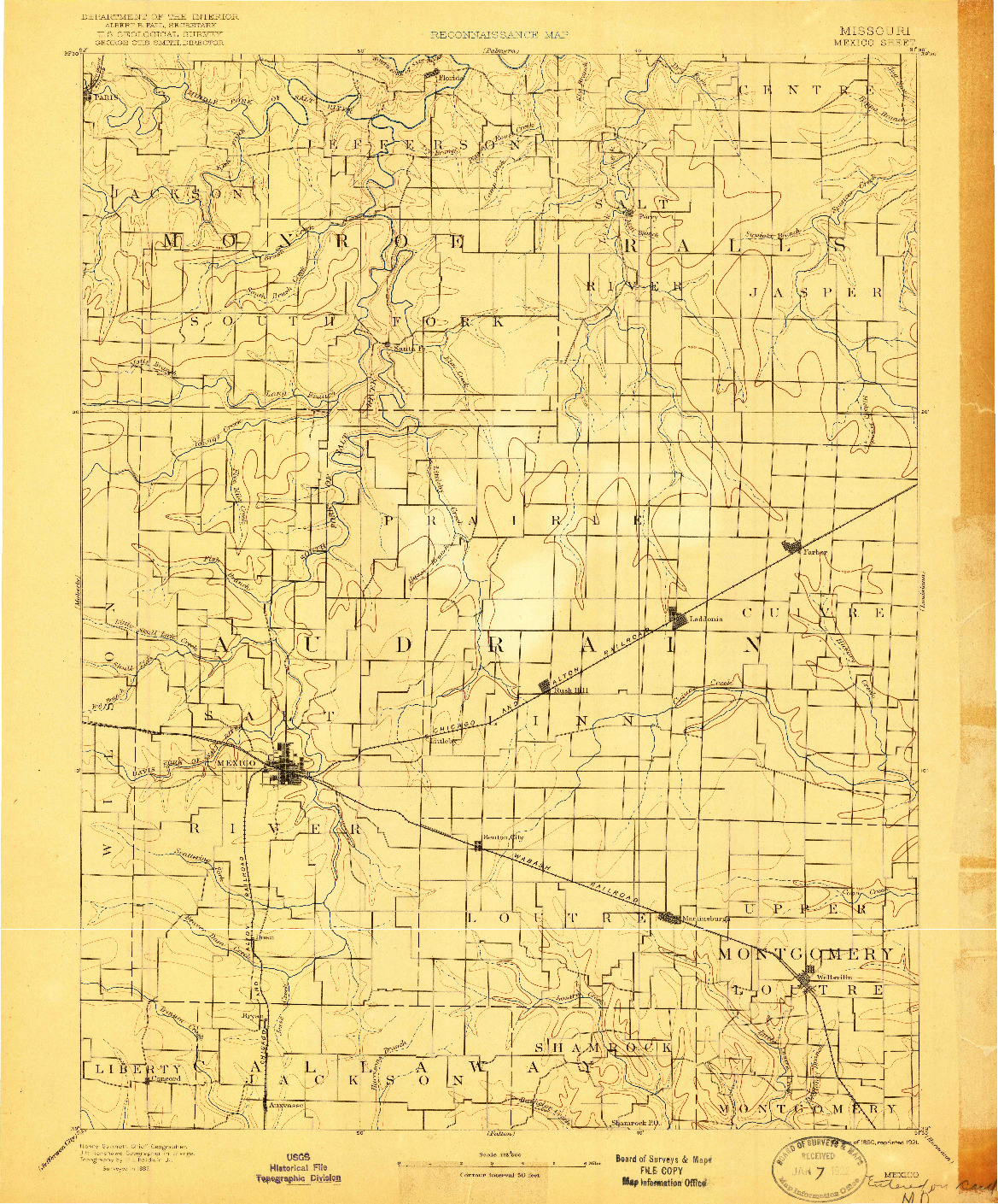 USGS 1:125000-SCALE QUADRANGLE FOR MEXICO, MO 1890