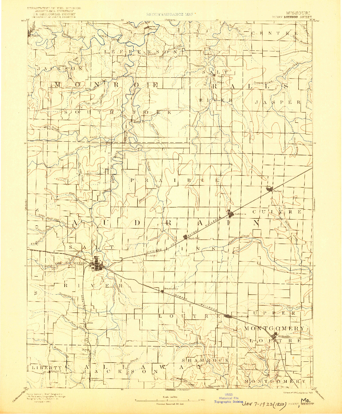 USGS 1:125000-SCALE QUADRANGLE FOR PERRY, MO 1890