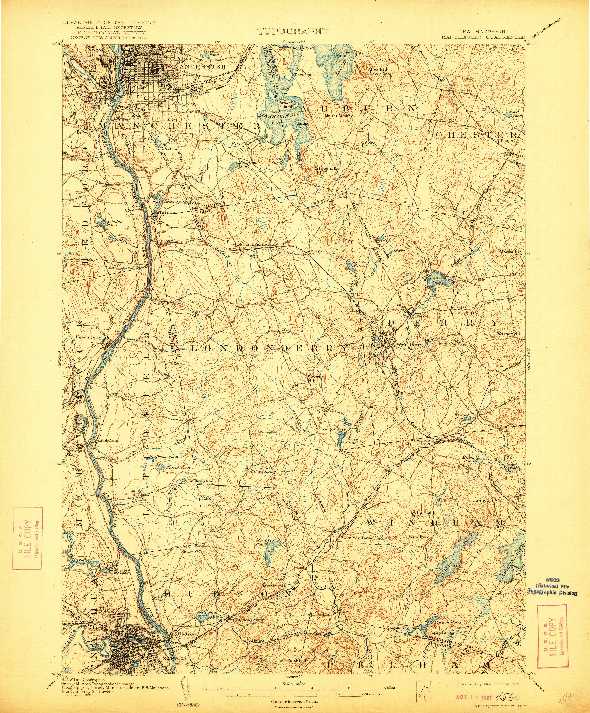 USGS 1:62500-SCALE QUADRANGLE FOR MANCHESTER, NH 1905