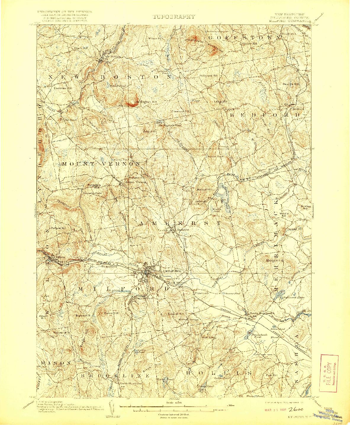 USGS 1:62500-SCALE QUADRANGLE FOR MILFORD, NH 1906