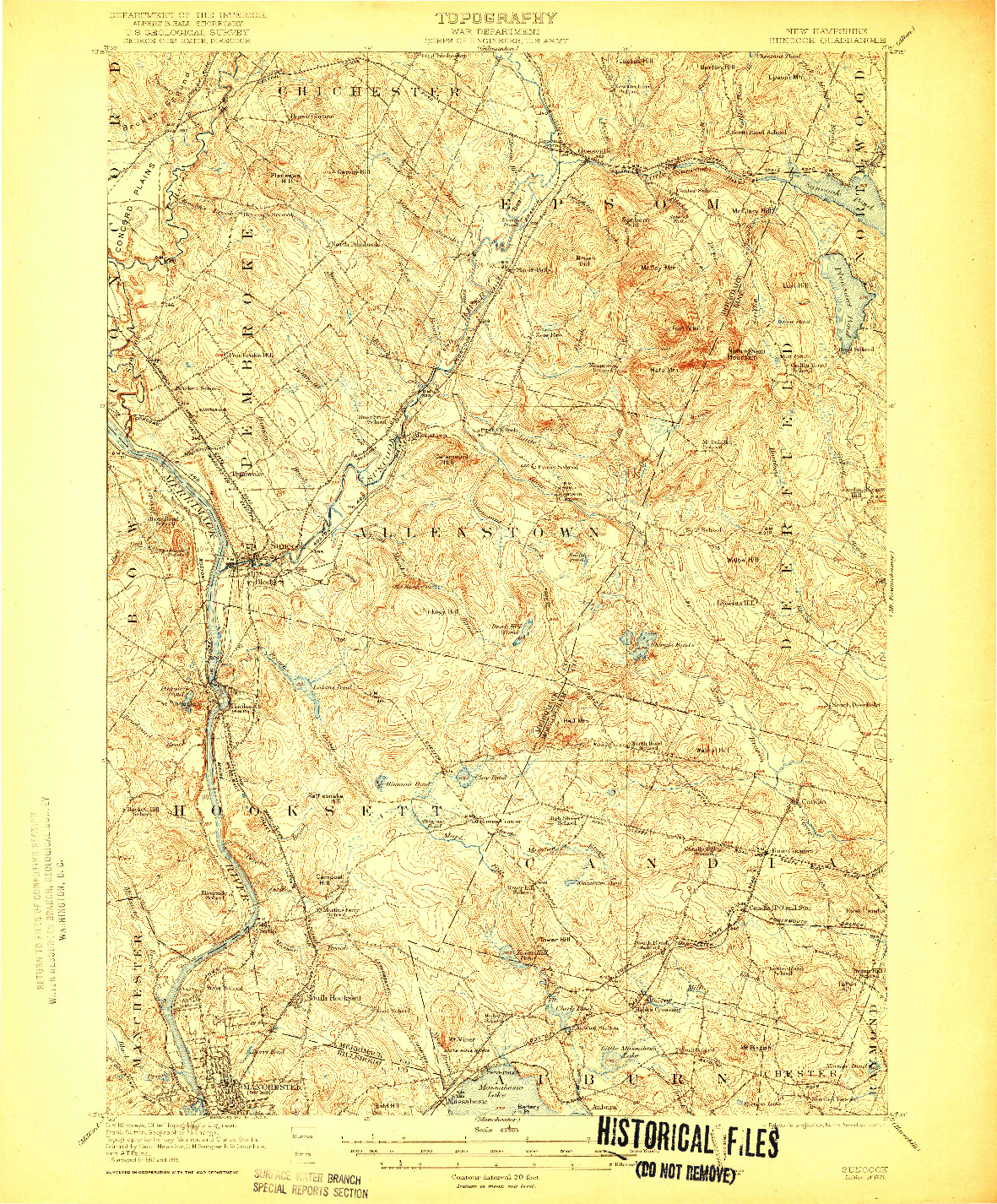 USGS 1:62500-SCALE QUADRANGLE FOR SUNCOOK, NH 1921