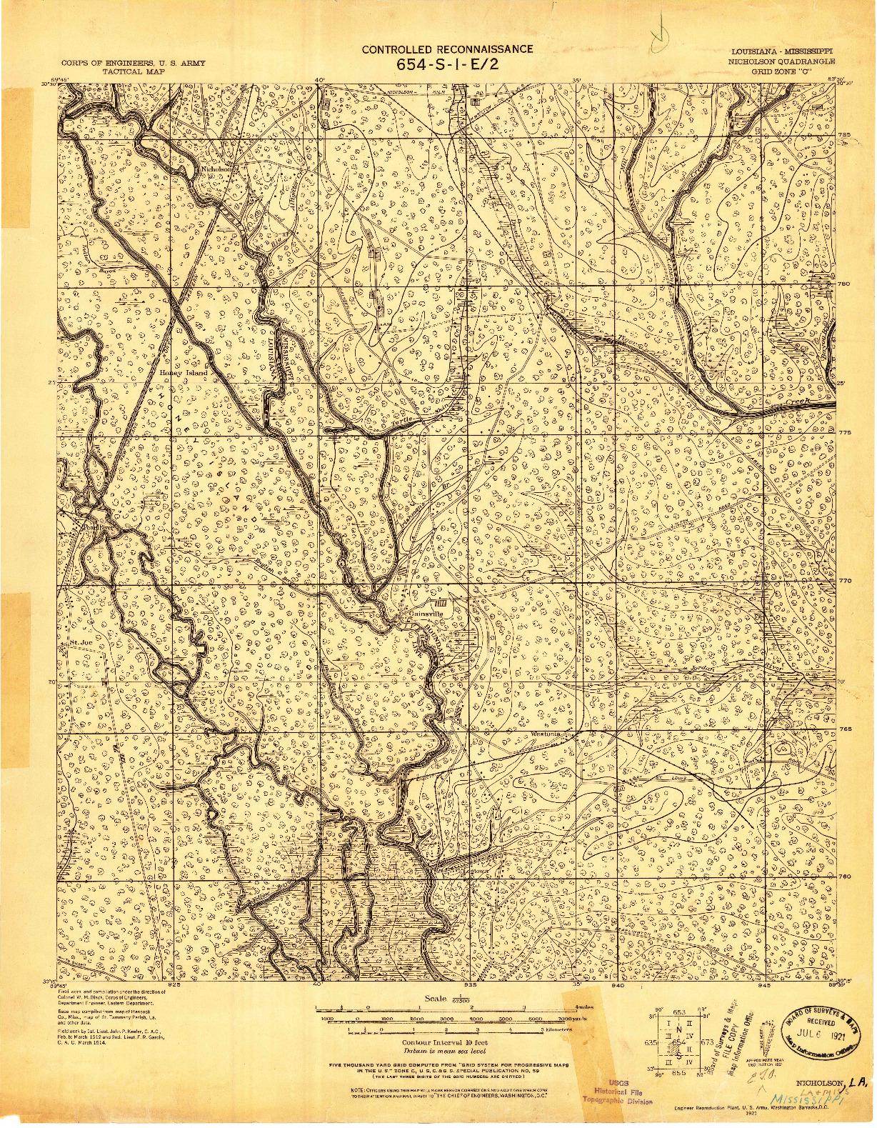 USGS 1:62500-SCALE QUADRANGLE FOR NICHOLSON, LA 1921