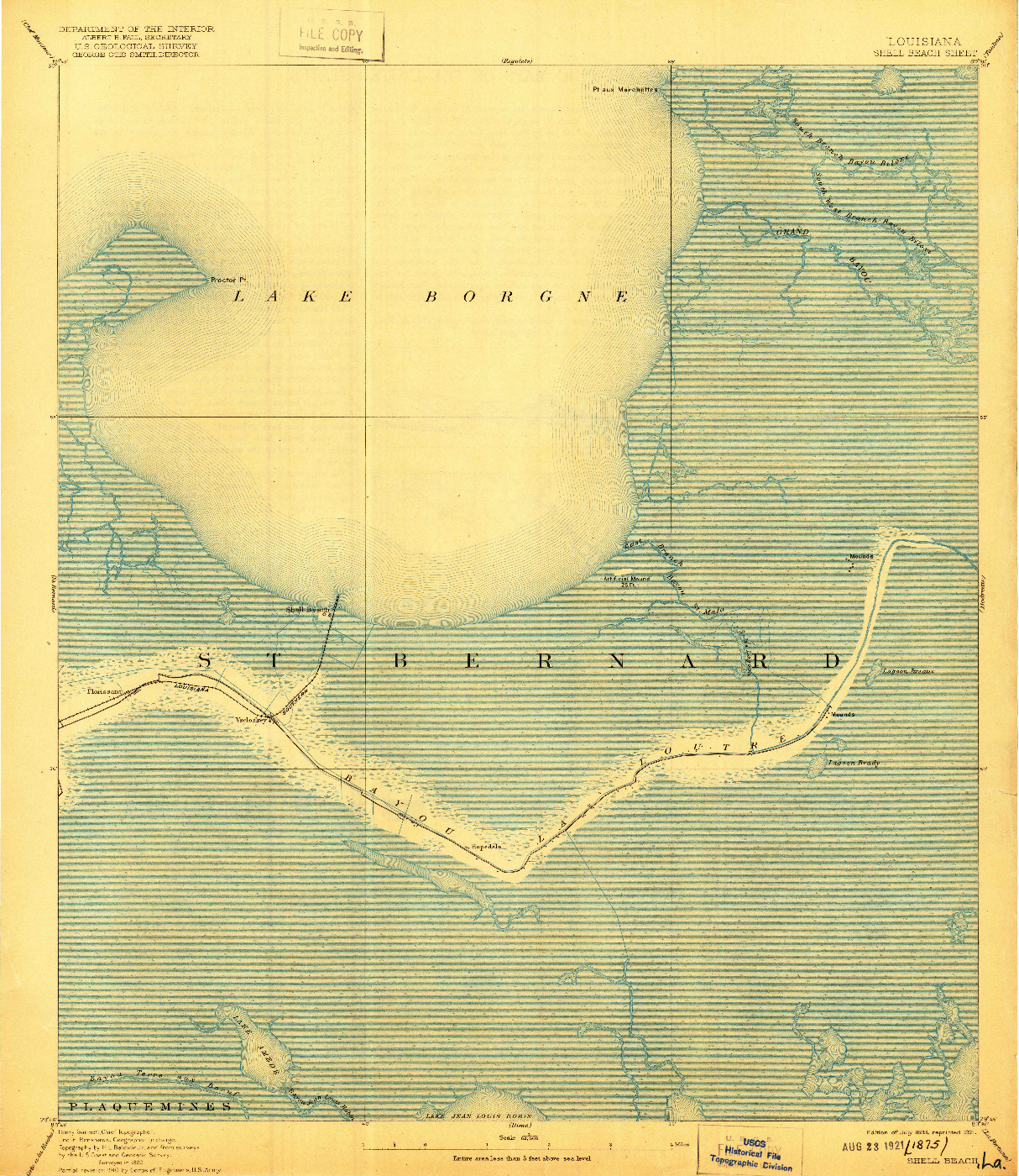 USGS 1:62500-SCALE QUADRANGLE FOR SHELL BEACH, LA 1893