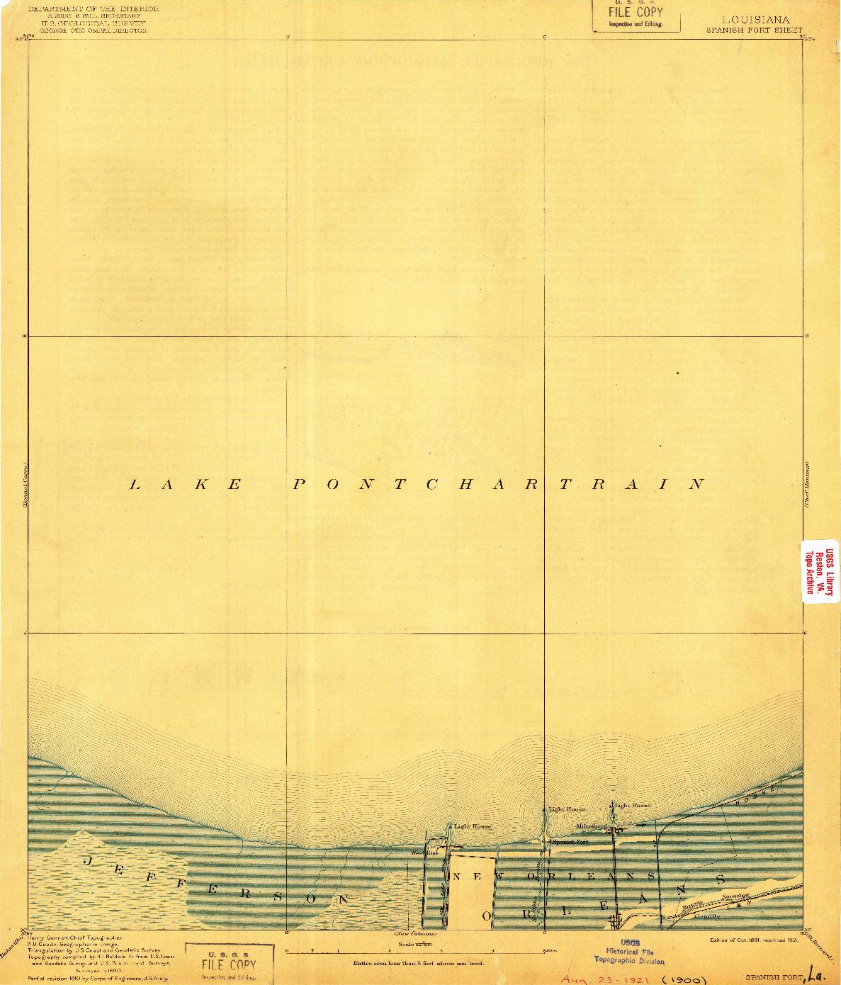 USGS 1:62500-SCALE QUADRANGLE FOR SPANISH FORT, LA 1891