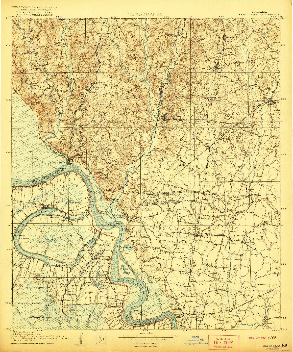 USGS 1:125000-SCALE QUADRANGLE FOR BAYOU SARA, LA 1906