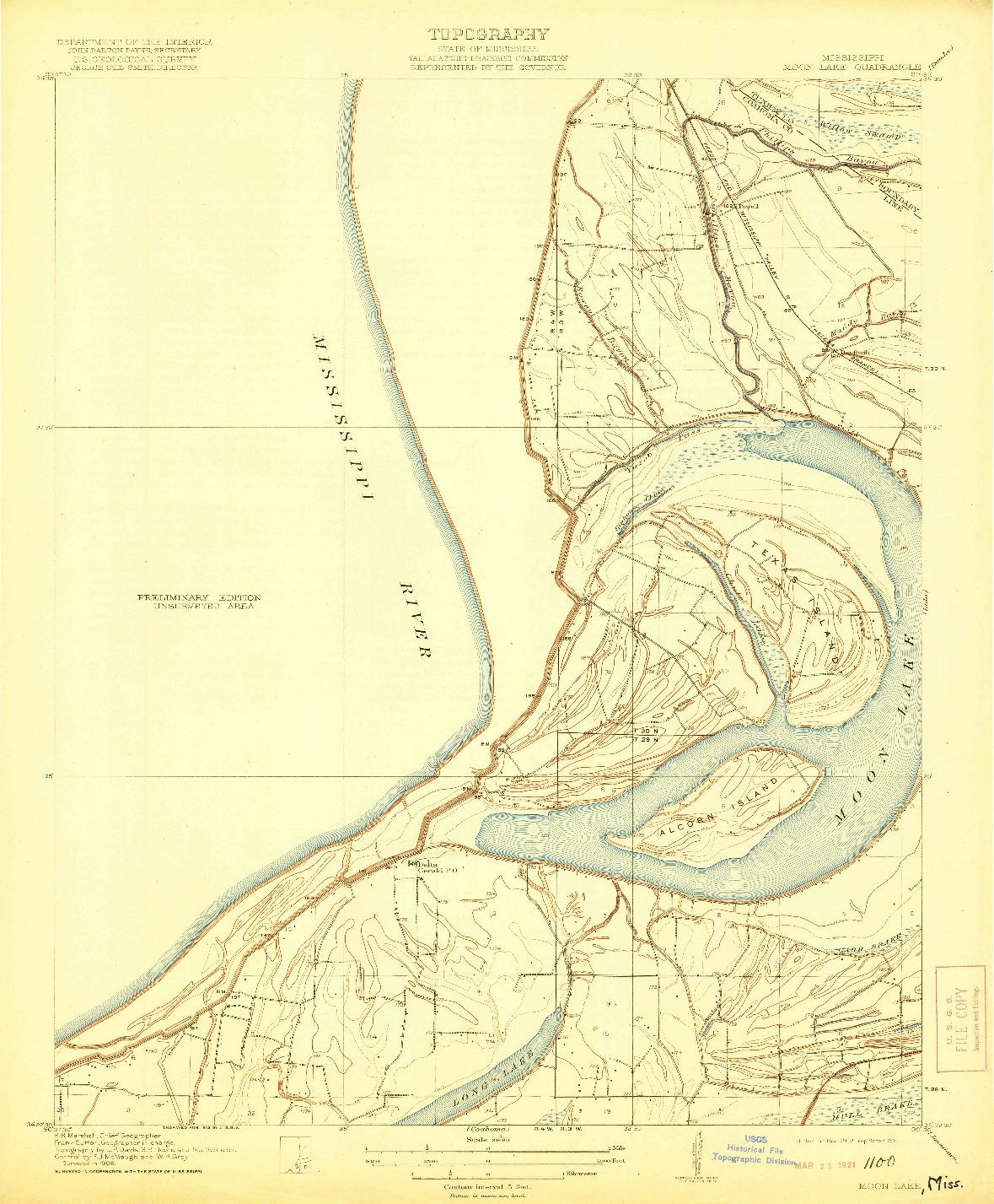 USGS 1:31680-SCALE QUADRANGLE FOR MOON LAKE, MS 1912