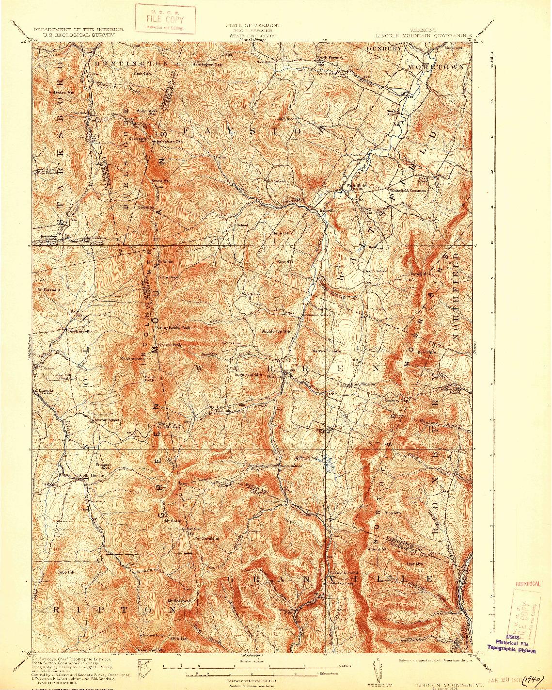 USGS 1:62500-SCALE QUADRANGLE FOR LINCOLN MOUNTAIN, VT 1921