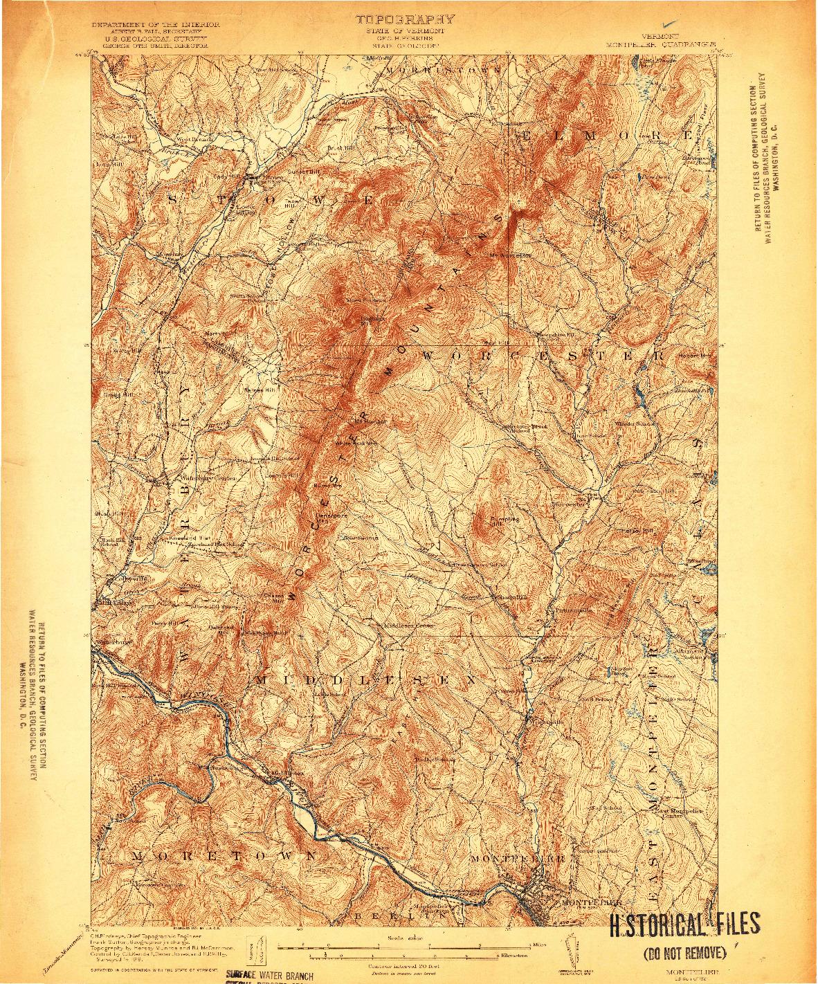 USGS 1:62500-SCALE QUADRANGLE FOR MONTPELIER, VT 1921