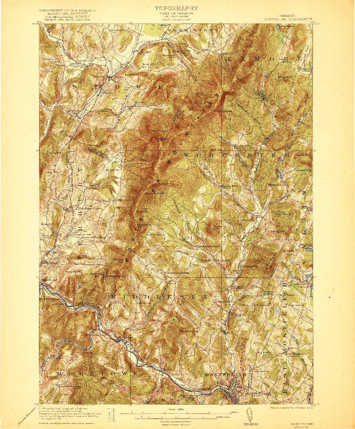 USGS 1:62500-SCALE QUADRANGLE FOR MONTPELIER, VT 1921