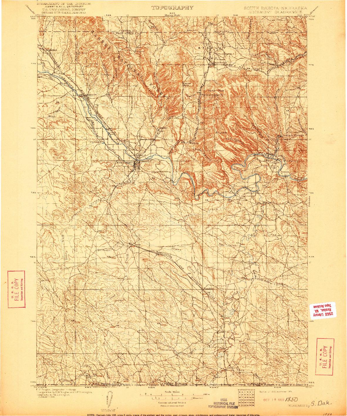USGS 1:125000-SCALE QUADRANGLE FOR EDGEMONT, SD 1902