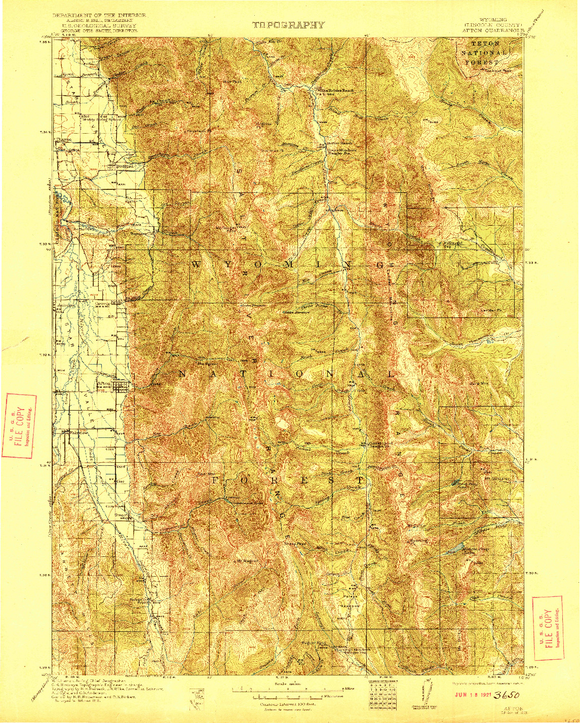 USGS 1:125000-SCALE QUADRANGLE FOR AFTON, WY 1921