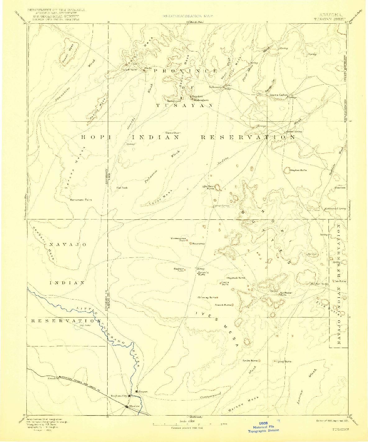 USGS 1:250000-SCALE QUADRANGLE FOR TUSAYAN, AZ 1886