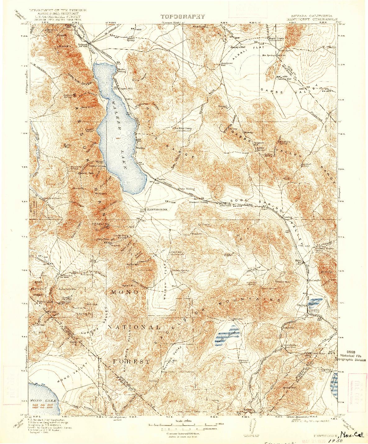 USGS 1:250000-SCALE QUADRANGLE FOR HAWTHORNE, NV 1911