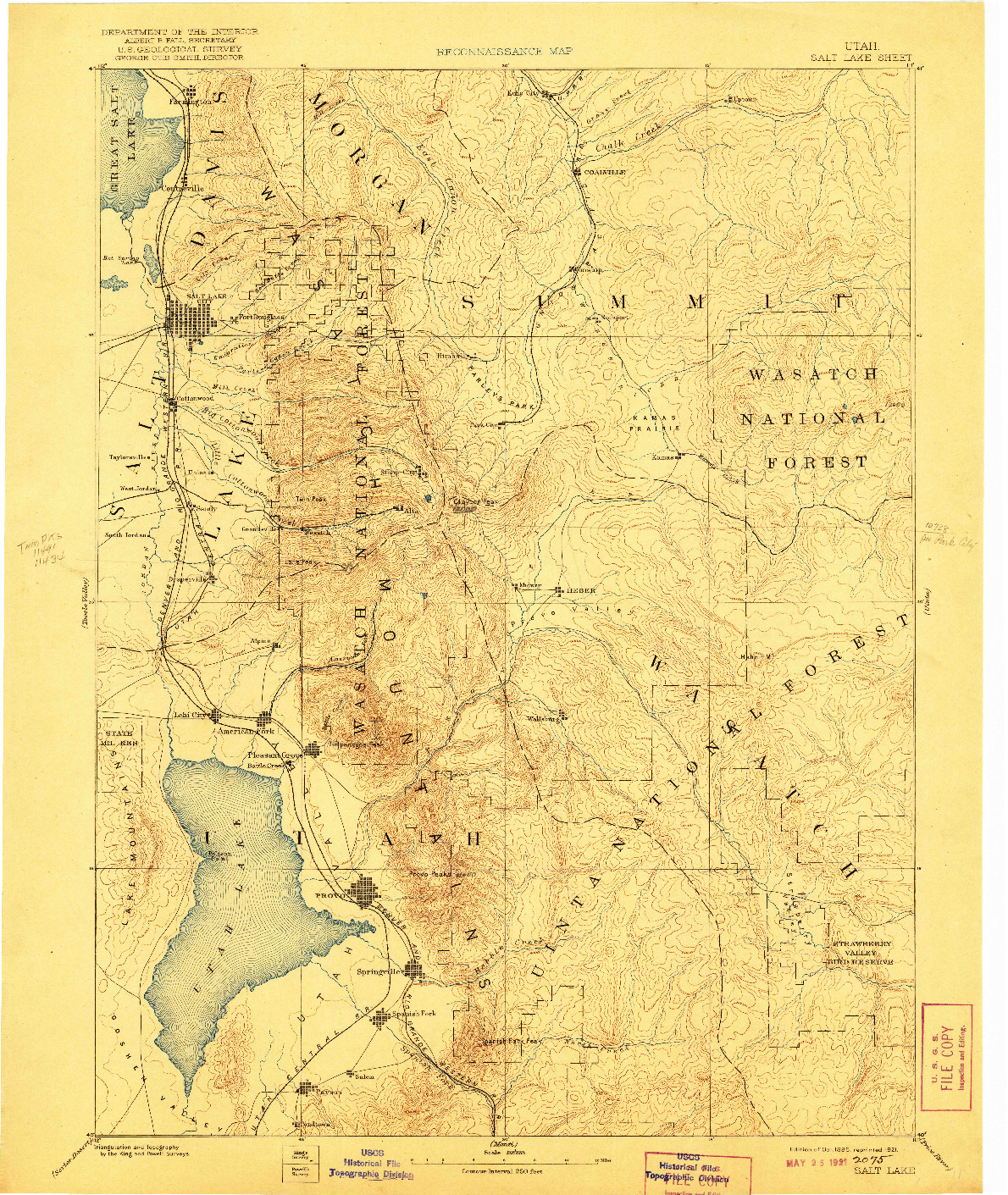 USGS 1:250000-SCALE QUADRANGLE FOR SALT LAKE, UT 1885