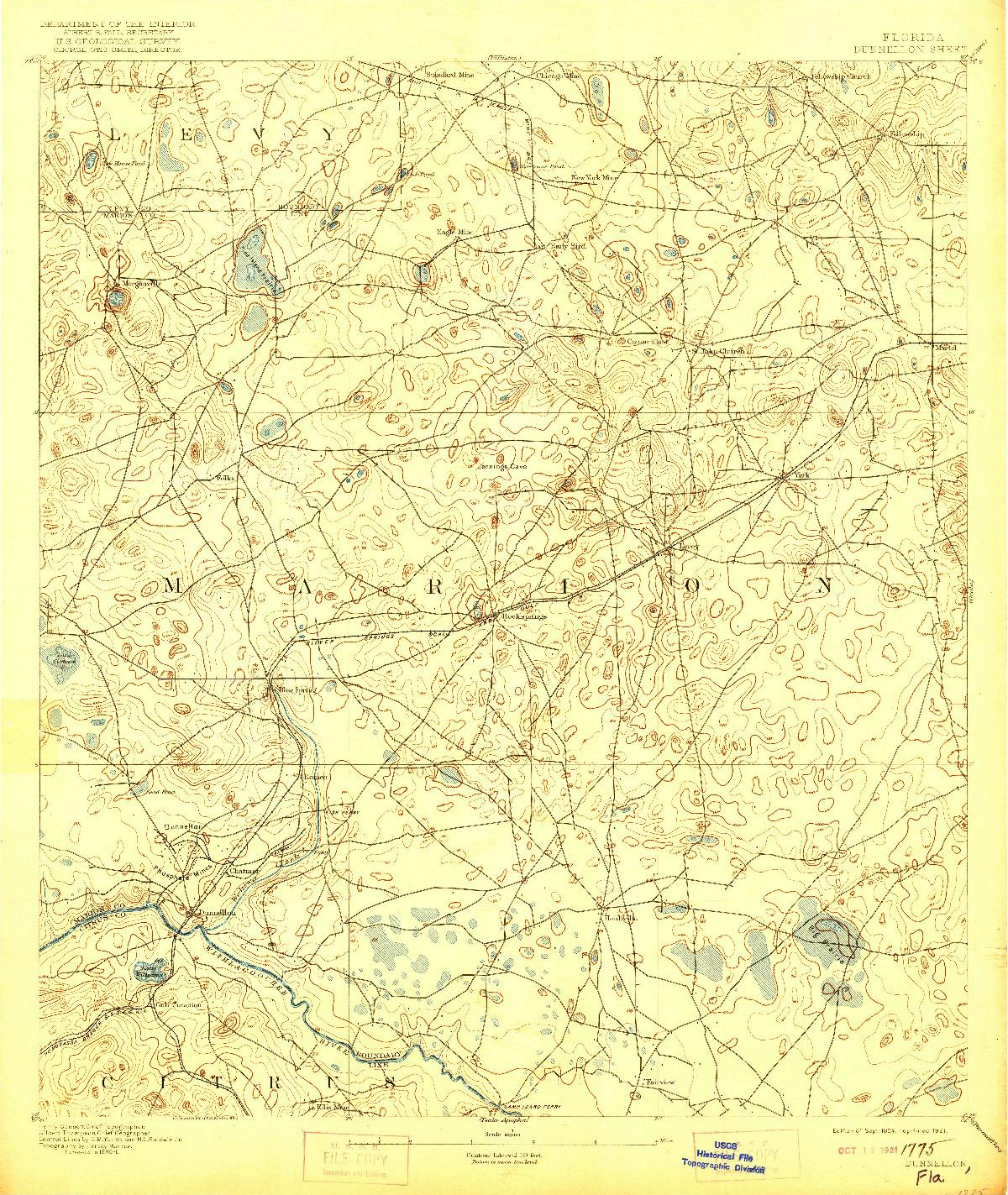 USGS 1:62500-SCALE QUADRANGLE FOR DUNNELLON, FL 1894