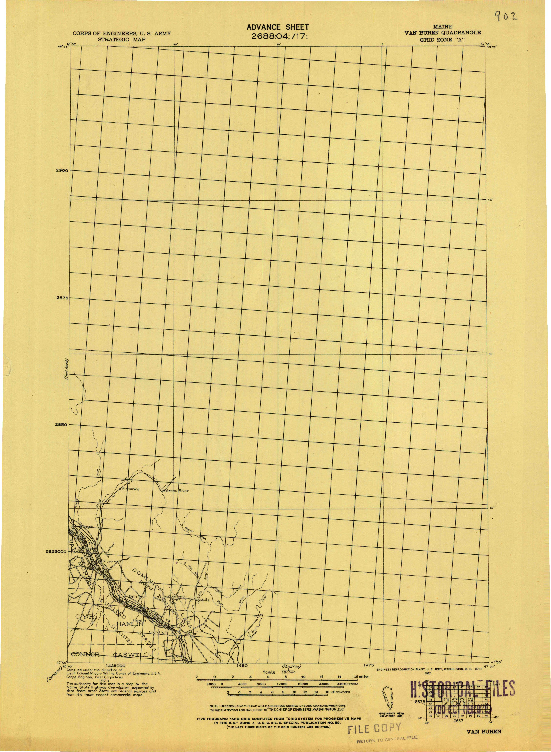 USGS 1:250000-SCALE QUADRANGLE FOR VAN BUREN, ME 1921