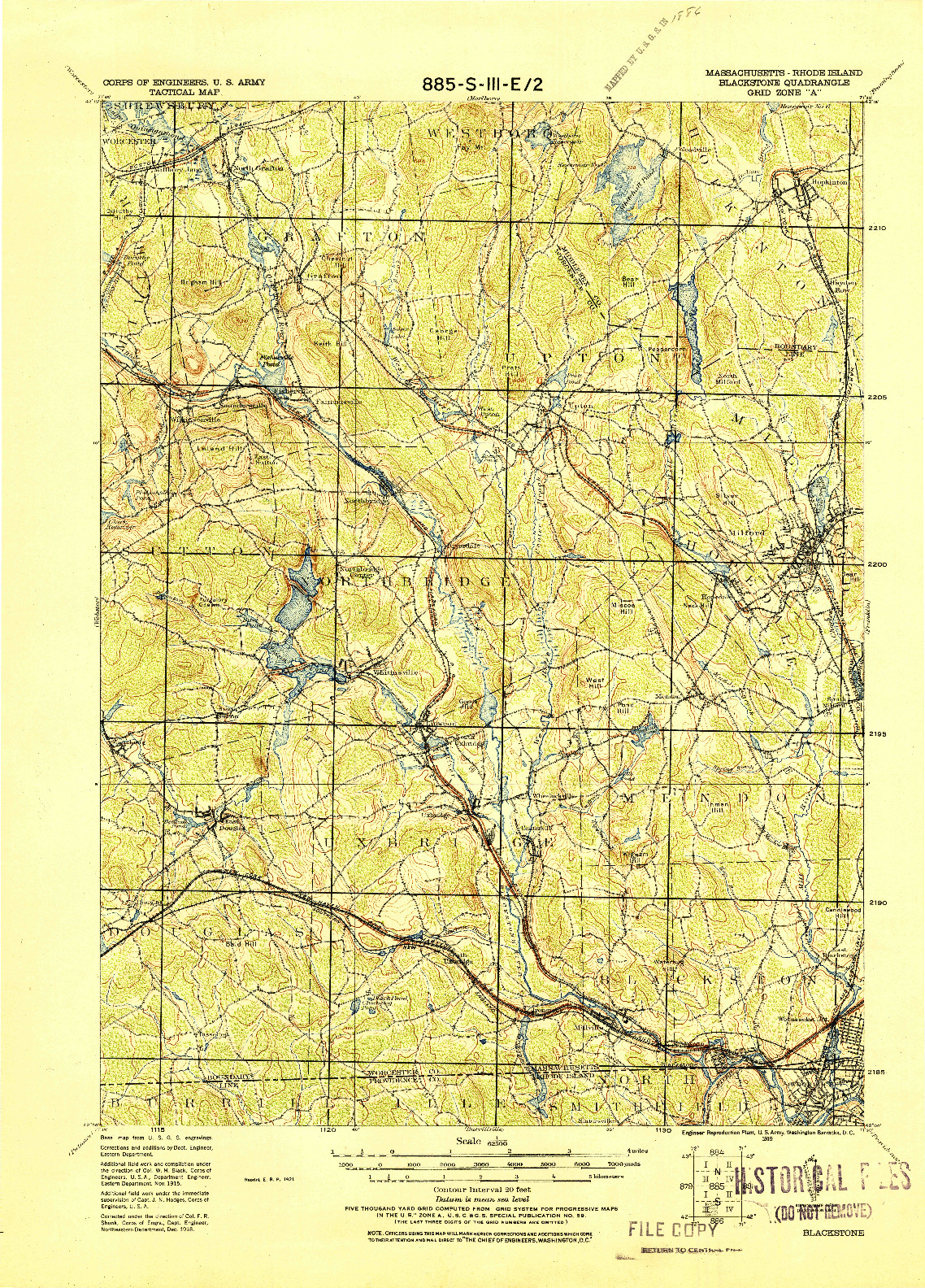 USGS 1:62500-SCALE QUADRANGLE FOR BLACKSTONE, MA 1919
