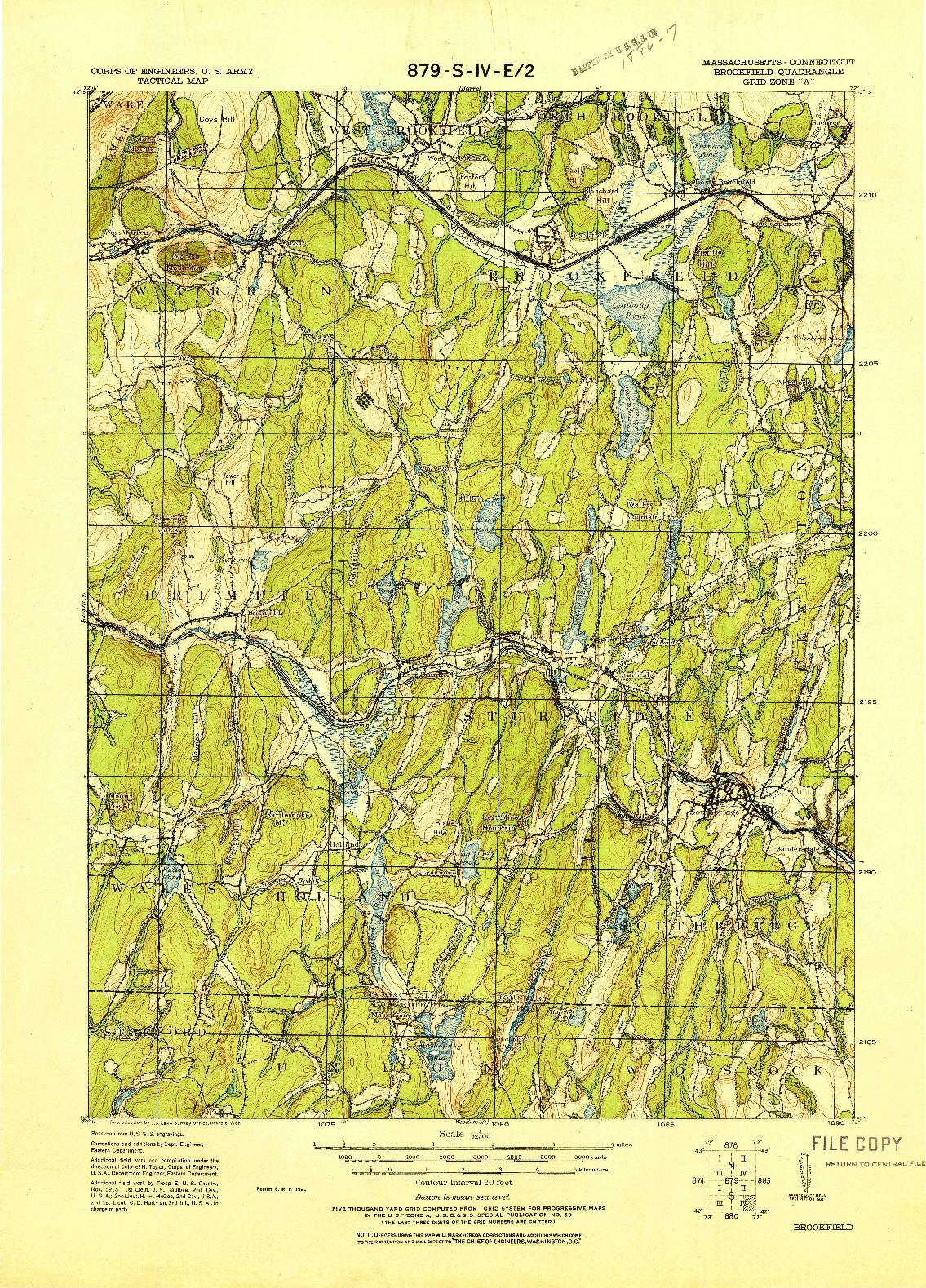 USGS 1:62500-SCALE QUADRANGLE FOR BROOKFIELD, MA 1921