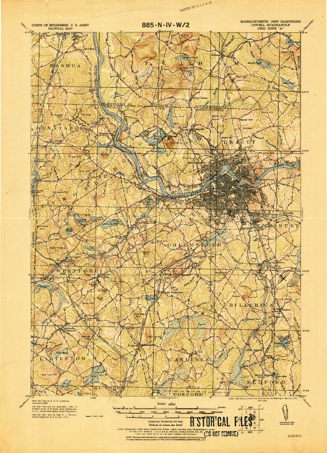 USGS 1:62500-SCALE QUADRANGLE FOR LOWELL, MA 1921