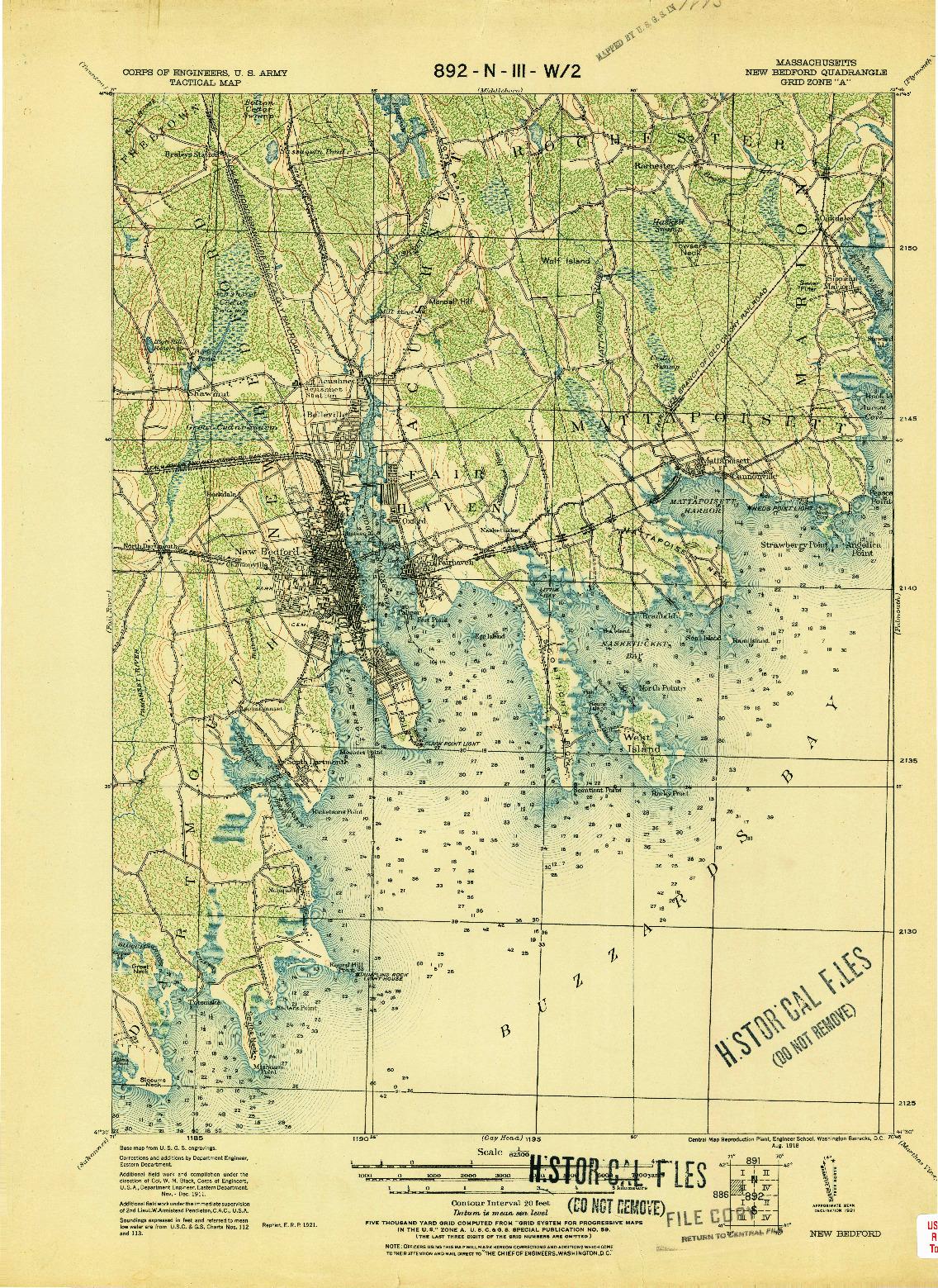 USGS 1:62500-SCALE QUADRANGLE FOR NEW BEDFORD, MA 1918